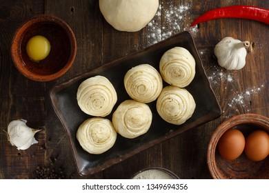layered khinkal raw. national Dagestan dish. hinkal
