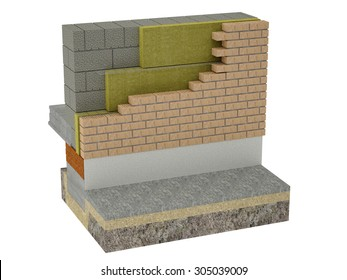 The layered masonry heat insulation is the system, which consists of a bearing wall, heat insulation material layer and the wall made of a facing material.