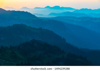 Layered mountain view from Mt. Rainier National Park