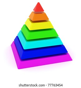 Layered multicolored pyramid isolated