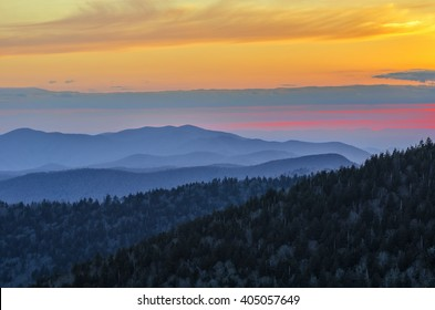 Layered peaks at sunset, Great Smoky Mountains