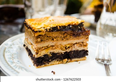 Layered piece of cake rachel's flodni in Budapest, Hungary