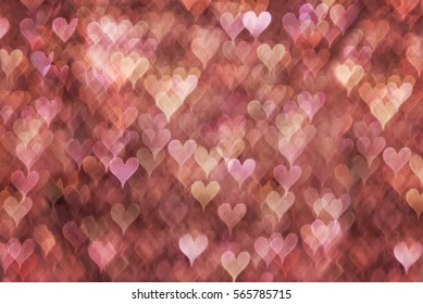 Layered Pink bokeh hearts background. Modern, abstract flat design for card or website.