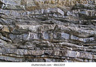Layered rock on high steep sea bank