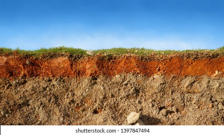 layered soil of cross section underground earth, erosion ground with grass on top