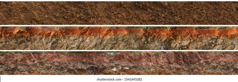 layered soil geology cross section underground earth, cutaway earth ground terrain surface