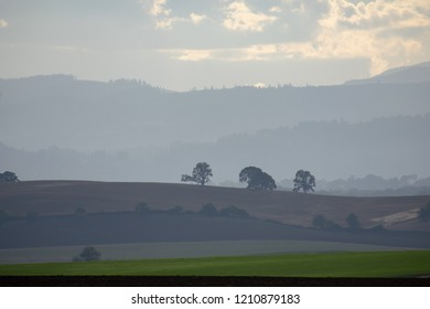Layered tones of hills and trees silhouette in a hazy sky, with bands of green against dark tilled soil.