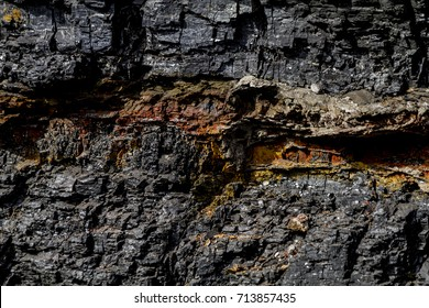 Layers of black coal and petrified wood in rock canyon wall
