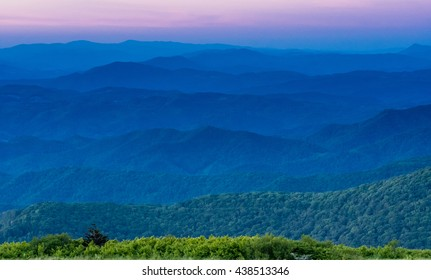 Layers of Blue Ridge Mountains at Sunset from a lookout along the Appalachian Trail