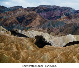 Layers of color seen in the hills at Zabriskie Point in Death Valley California