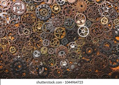 Layers of different cogwheels. Heavy machinery. Clockwork.