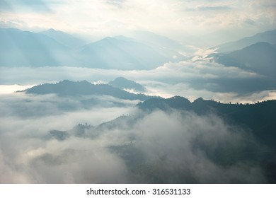 layers of mountain at the sun rise