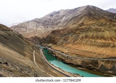 The layers of mountains in Zanskar River in Ladakh, India.