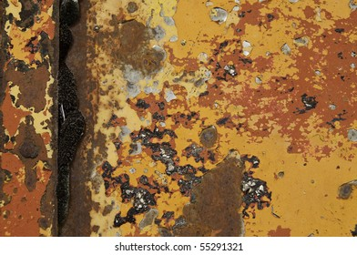 Layers of old paint on metal door. It is great for texture.