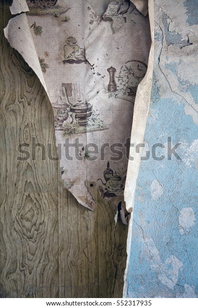 Layers Old Peeling Wallpaper Abandoned Dilapidated Stock
