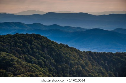 Layers of ridges of the Blue Ridge Mountains, seen from Stony Man Mountain, Shenandoah National Park, Virginia.