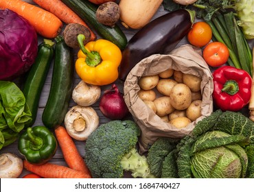 Layflat composition of fresh organic vegetables