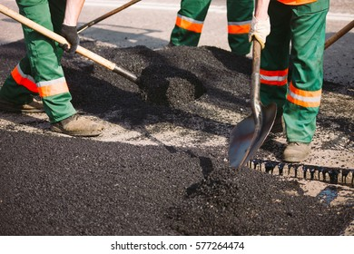 Laying asphalt in the city.