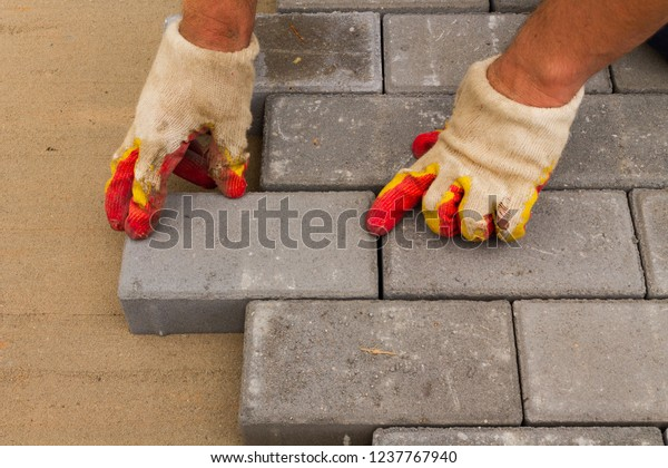 Laying Gray Concrete Paving Slabs House Stock Image Download Now