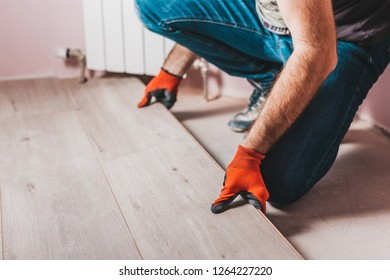 Laying laminate - installing flooring for repair and finishing works