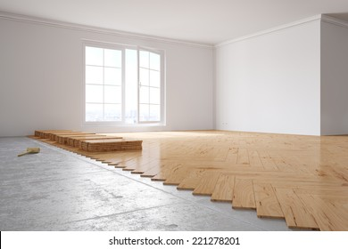 Laying out poplar hardwood in room in a house