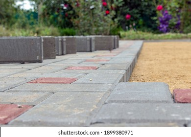 Laying paving stones on a garden path. Laying gray concrete paving slabs in the yard on a flat sandy foundation.