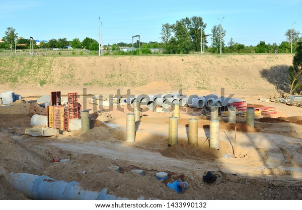 Laying Replacement Underground Storm Sewer Pipes Stock Photo (Edit