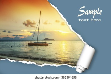 layout for advertising of tourist business. Sailing boat at sunset, with the effect of torn paper and space for text