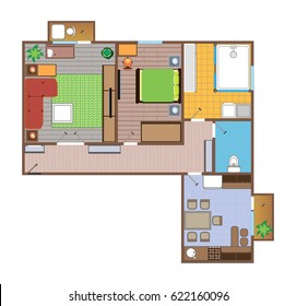 Layout of the apartment with furniture and plumbing