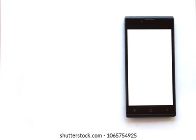 layout for cutting and pasting A black smartphone with white blank screen on isolated white background