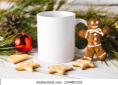 Layout for design of mug, white mug and gingerbread man
