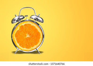 Layout fresh orange slice alarm