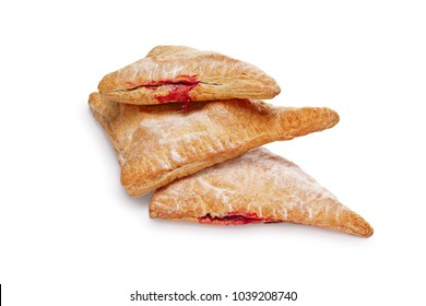 Layout for menu. Puff pastry pockets with strawberry filling on white background