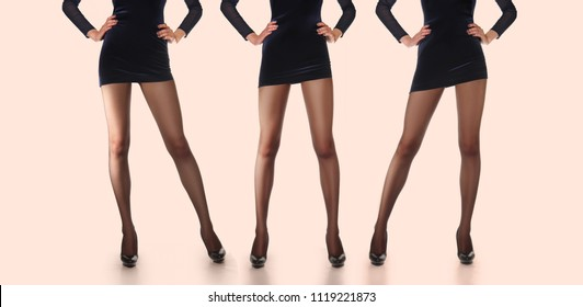 Layout for packing of pantyhose. Three pairs of female legs in thin tights.