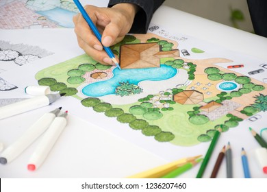 layout plan of clubhouse landscape design or garden design or landscape architecture drawing by hand with color marker pens and color pencils on white paper, selective focus
