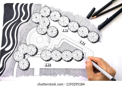 layout plan of garden design or landscape architecture preliminary sketch by hand with black marker pen on white paper and white background with drawing tools, black and white style, selective focus