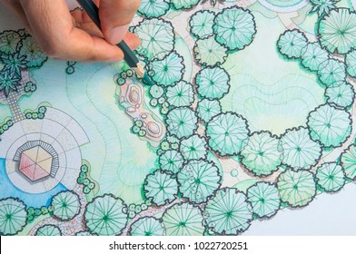 layout plan of home landscape design or garden design drawing by hand with color pencil on white paper
