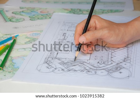 Layout Plan Of Home Landscape Design Or Garden Sketching By Hand With Black Pencil On