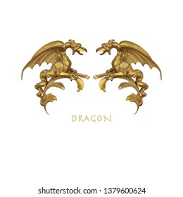 Layout of poster with gold decorative dragons isolated on white background. Design element with clipping path