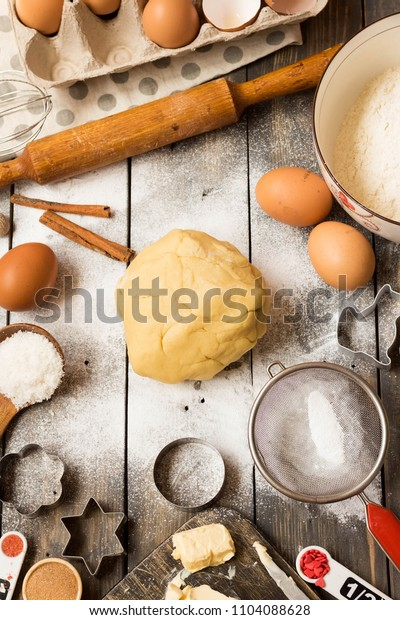 Layout tools and ingredients for baking. Flat lay