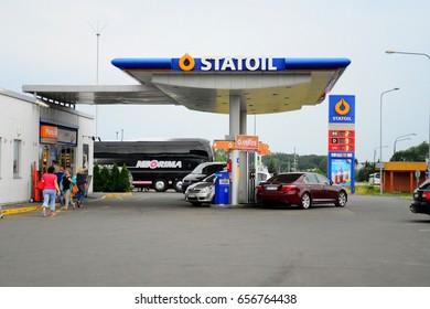 LAZDIJAI, LITHUANIA - JULY 6: Statoil fuel station in Lithuania and Poland border on July 6, 2016, Lazdijai, Lithuania.