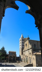 Lazio, Italy - 08-04-2017: Viterbo Cathedral (Italian: Duomo di Viterbo, or Cattedrale di San Lorenzo) is a Roman Catholic cathedral