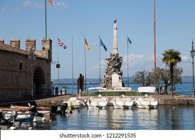 LAZISE ITALY ON APRIL 30, 2018: Lazise is a medieval village at Garda lake Verona Veneto Italy