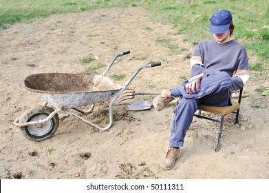 Lazy man on field
