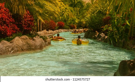 Lazy river in waterpark on Tenerife canarian island.