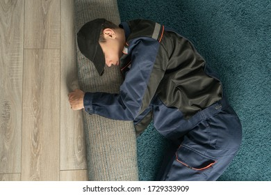 A lazy or tired worker sleeps in the workplace. Poor service, unskilled help