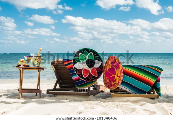 Lazy vacations on the beach by the caribbean sea. Relax outdoors. Travel background for Mexico.