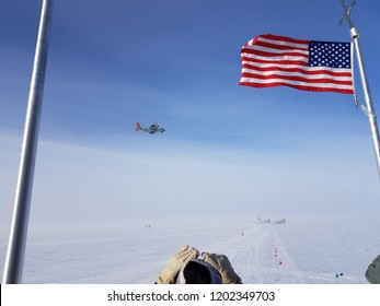LC-130 taking off from South Pole Station