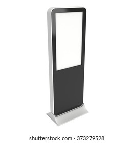 LCD Display Stand. Blank Trade Show Booth. 3d render isolated on white background. High Resolution. Ad template for your expo design.