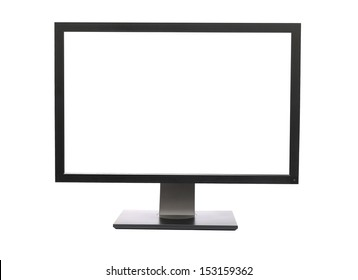 LCD monitor on white background, blank white screen
